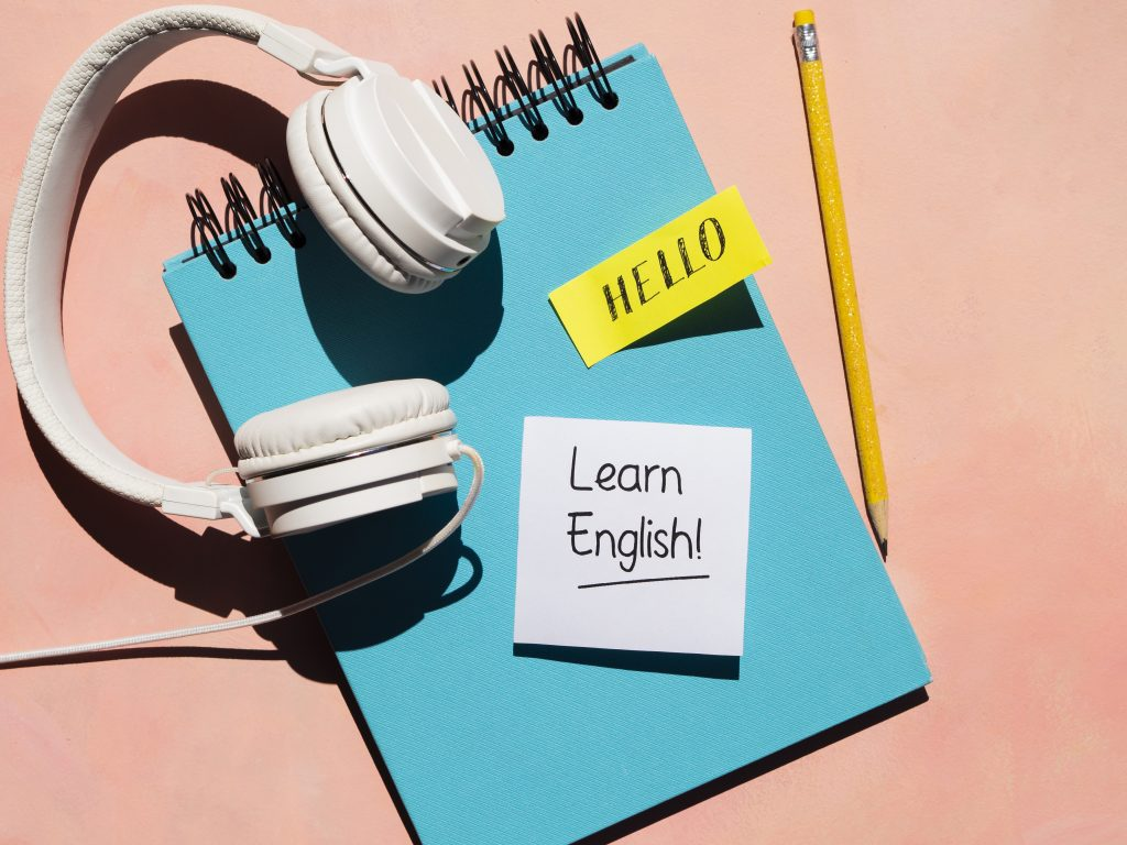 headphones used for learning a new language